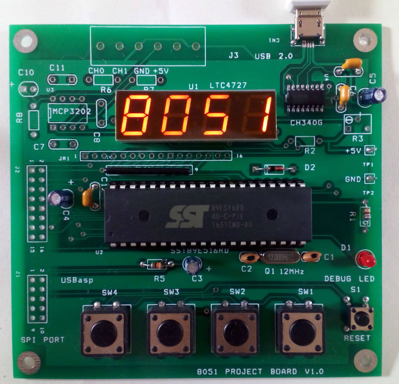 Project Board for SST89E516RD Microcontroller
